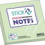 Stick notes 76 x 76 mm, 100 file, HOPAX - verde